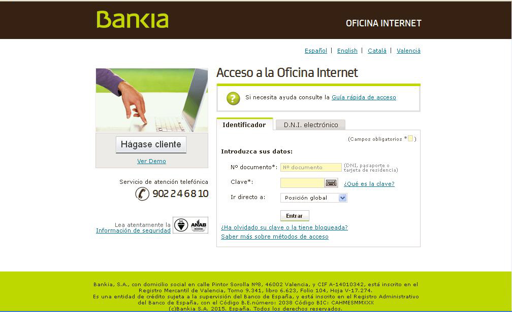 Practicas de internet for Bankia oficina de internet